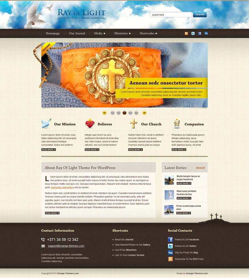 Ray of Light WordPress Theme for Church