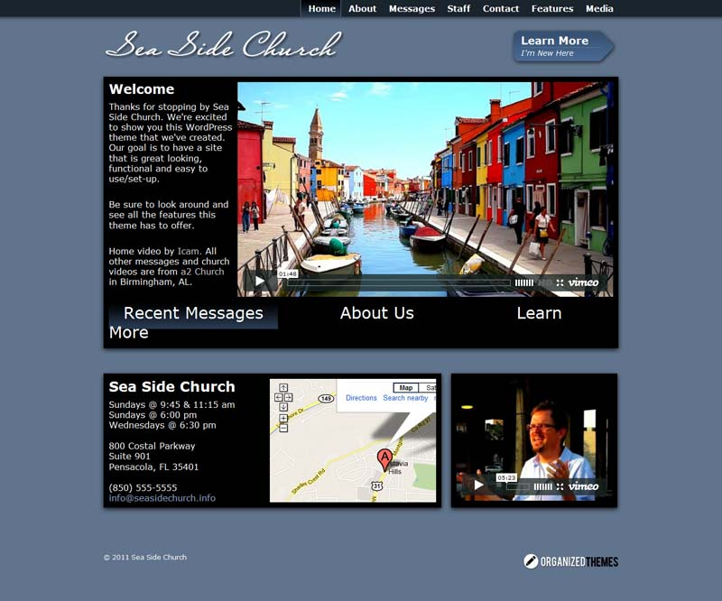 Seaside WordPress Theme for Church