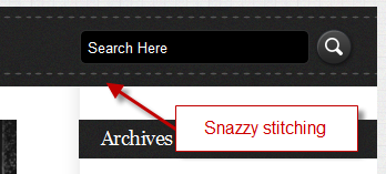 stiching detail on nav bar