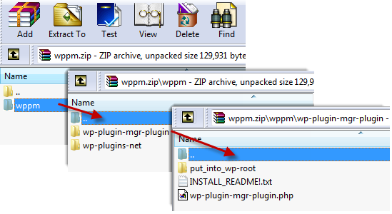 image showing file structure of the WP Plugin manager as incompatible with WordPress' auto-install