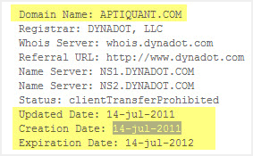 whois lookup showing domain registered on 12th July