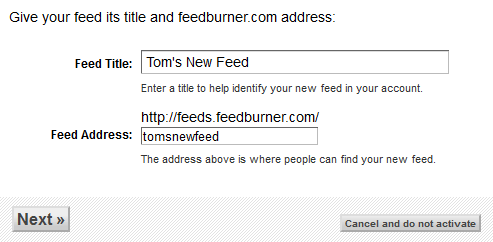 Feed Title & Address
