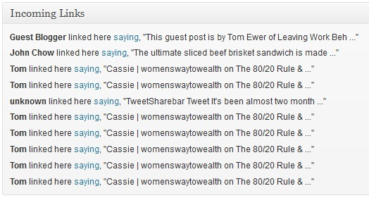 Incoming Links On The WordPress Dashboard