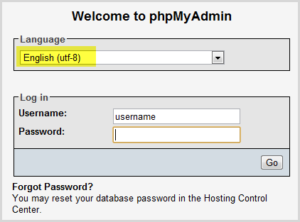 insert your database username and password