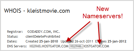 whois lookup showing new nameservers
