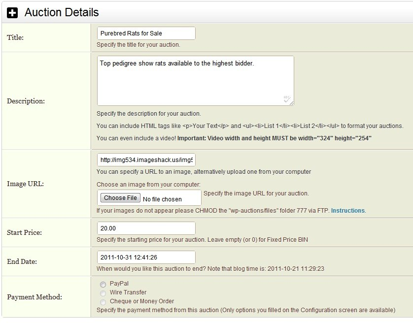 Auction products on your WordPress site