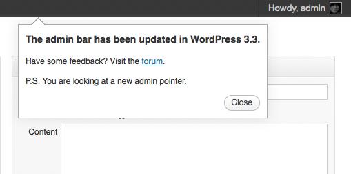 WordPress 3.3 Admin Tooltips