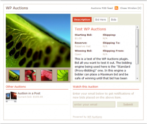 WordPress used as an auction site