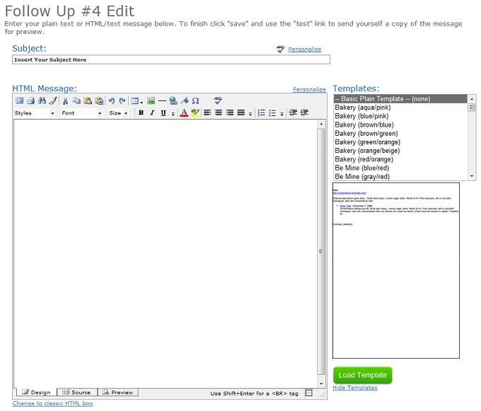 AWeber Text Editor