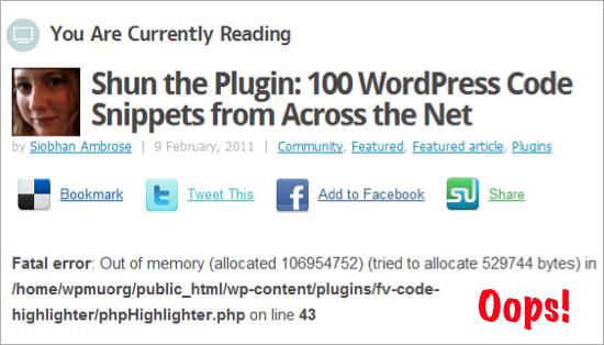 fatal error with code highlighter plugin