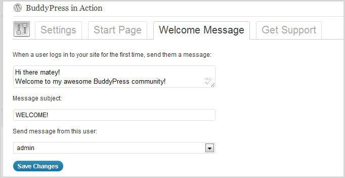 BuddyPress Welcome Pack Start Message