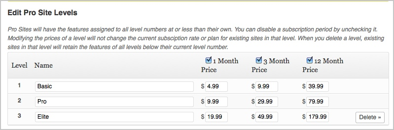 use levels to offer different membership types