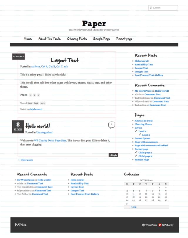 Paper Twenty Eleven Child Theme for WordPress