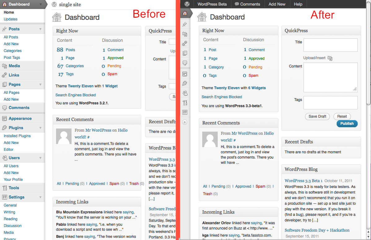 WordPress 3.3 responsive admin compared with current admin