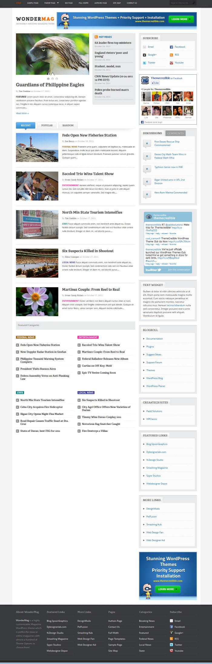 WonderMag WordPress theme from Themecredible