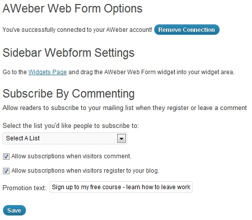 AWeber Plugin Options