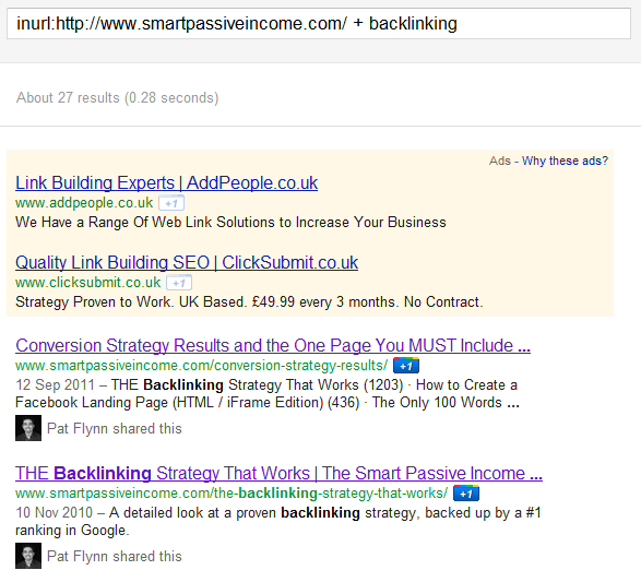 Backlinking Google Search