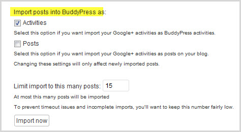 the Google+ Plugin BuddyPress options