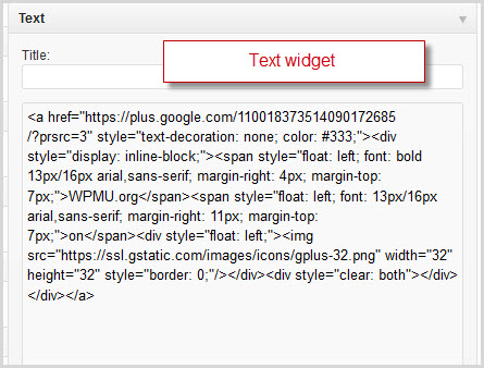 create a blank text widget and paste in the code