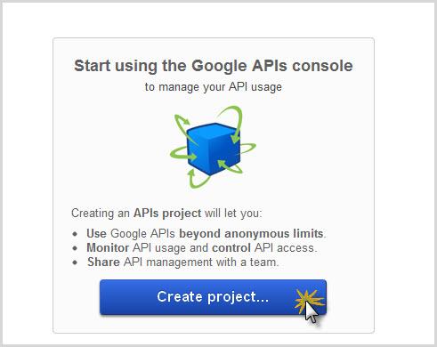Google API Console landing page
