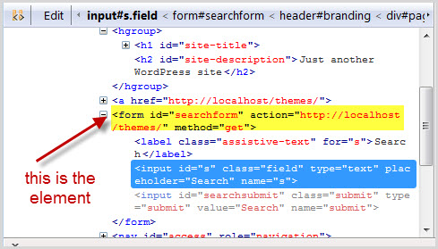 We can find the correct element by looking above the html for the search box