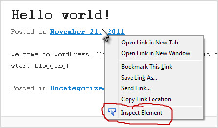 right click and select inspect element
