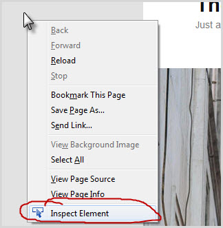 """right click on the webpage background and click """"inspect"""" element"""