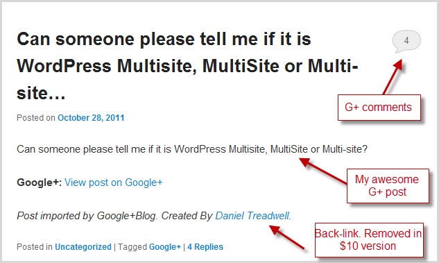 my Google + post imported into WordPress