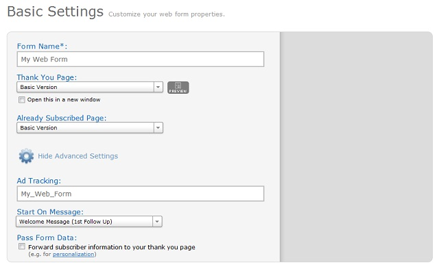 Web Form Settings