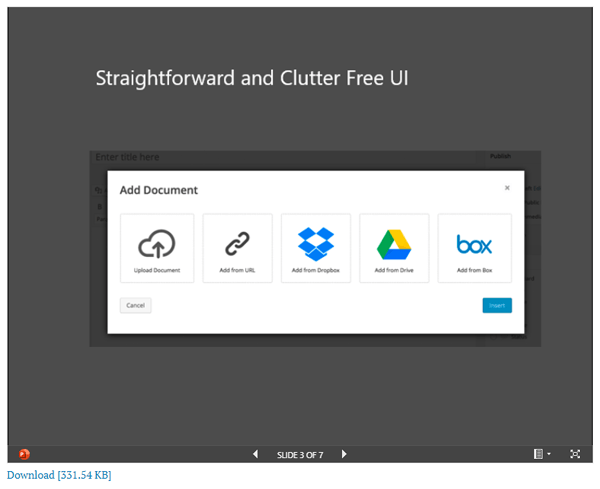 Screen showing choices to embed your documents directly, or from your favorite cloud storage provider.