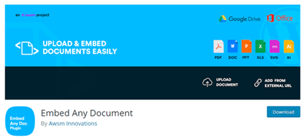 The Embed Any Document WordPress Plugin on WP.org repo