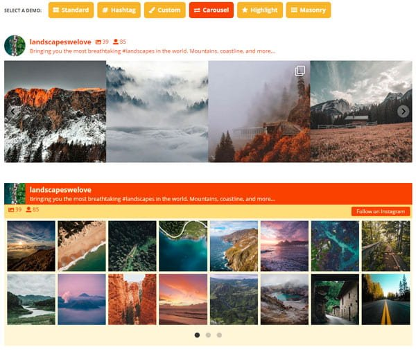 An example of an embed of Instagram images by Smash Balloon Social Media Feed WordPress Plugin