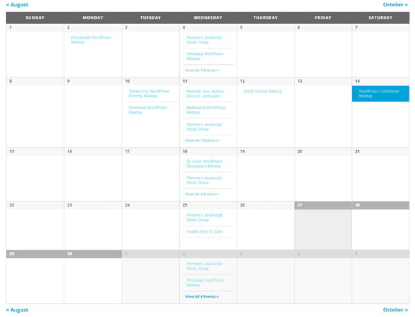 The base calendar template of The Events Calendar.