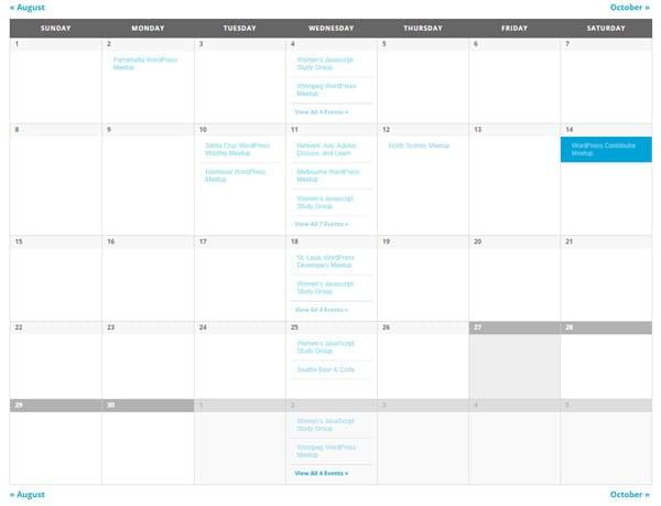 The base calendar template of The Events Calendar.