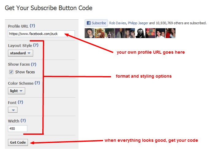 Add the subscribe button for Facebook to your website