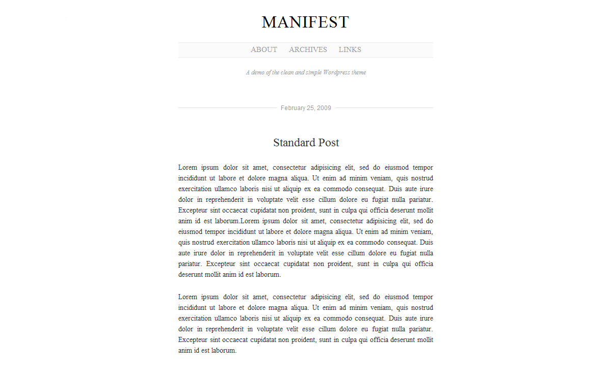 Manifest: A Minimalist Theme for your WordPress blog