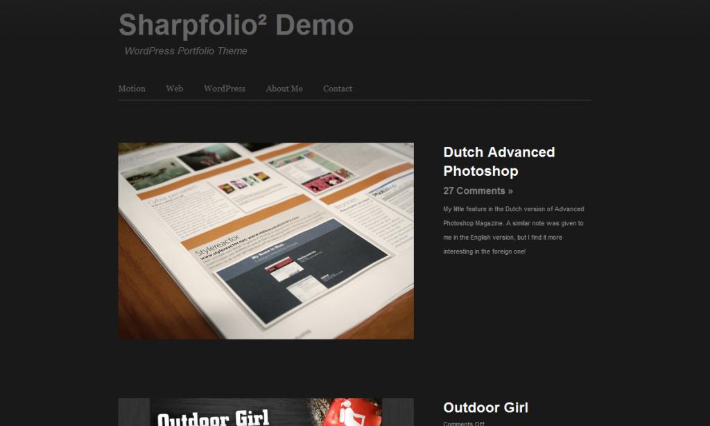 A minimalist WordPress Theme called Sharpfolio