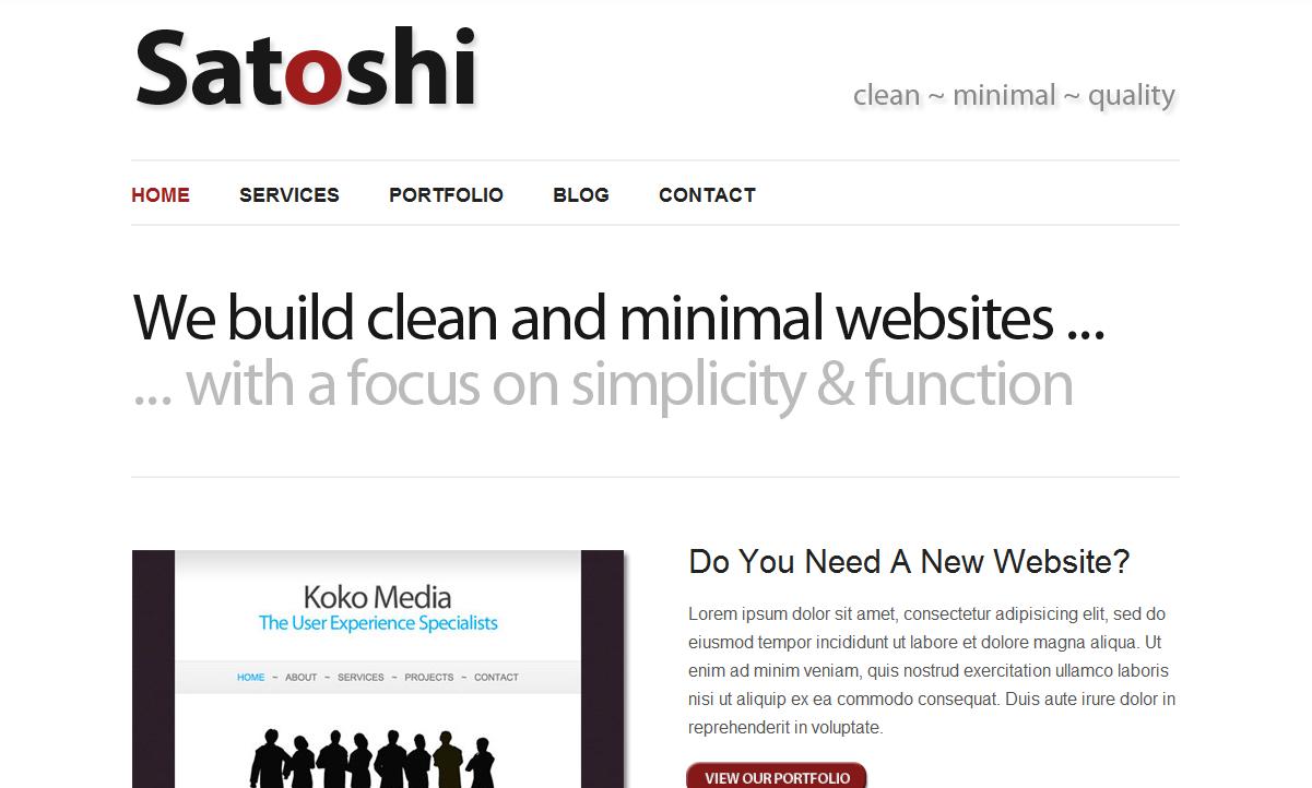 Satoshi the free, minimalist WordPress Theme