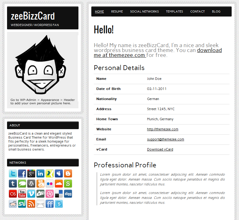 The ZeeBizzCard Theme ...  Wordpress Resume Theme