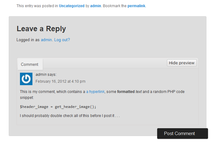 Let your readers preview their WordPress comments before they post