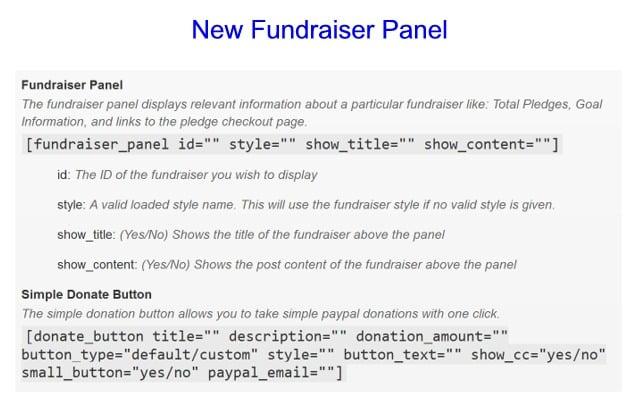 New Fundraiser Panel