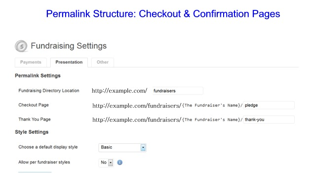Permalink Structure: Checkout and Confirmation Pages.