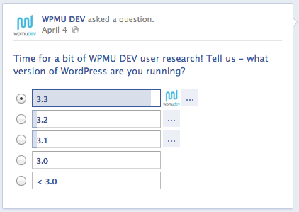 WPMU DEV Facebook Poll