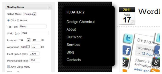 WordPress Menu Plugins - Floating Menu plugin from Design Chemical
