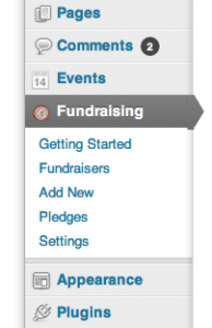 Fundraising General Settings Menu in WordPress