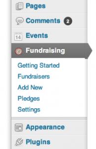 Fundraising General Settings Menu in WordPress