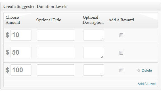 Suggested Donation Levels