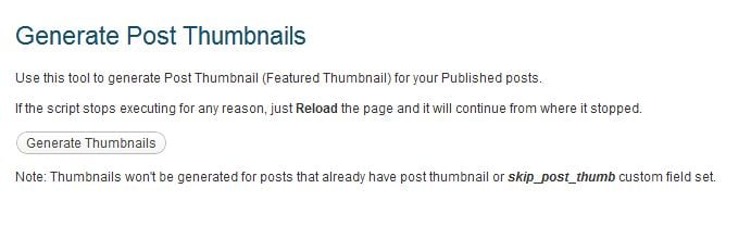 Generate Post Thumbnails Plugin Settings Page