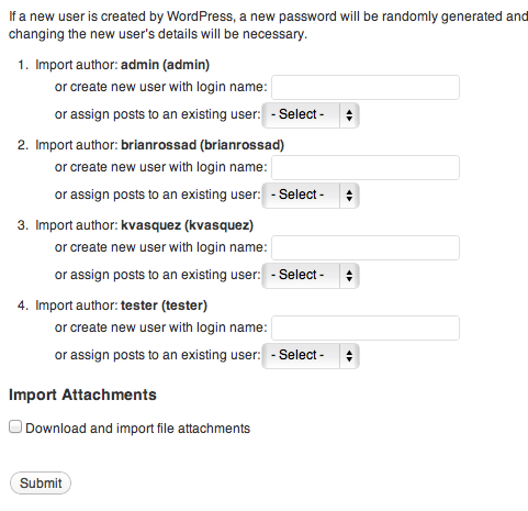 WordPress Import Settings