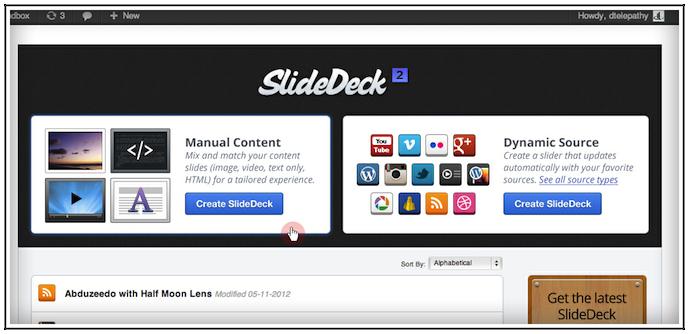Manage SlideDecks Screen